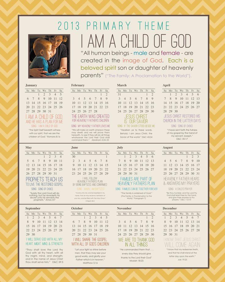 Calendar Design God : More lds primary theme — simply fresh designs