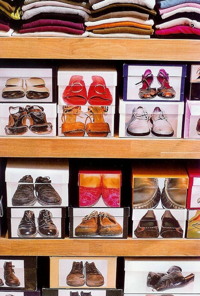 Shoe Organization With Coloured Photos On The Boxes.