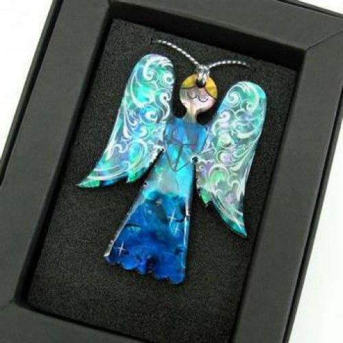 New Zealand Paua Christmas Angel Decoration - Collectible Boxed