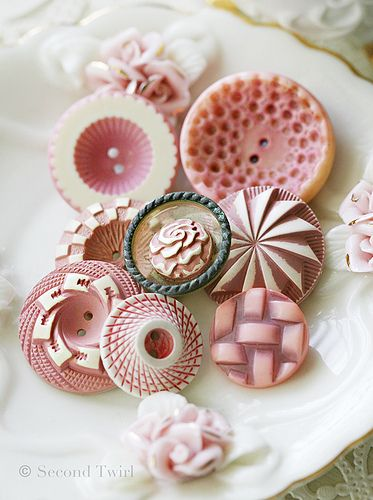 Vintage Pink and White Buttons | Flickr - Photo Sharing!
