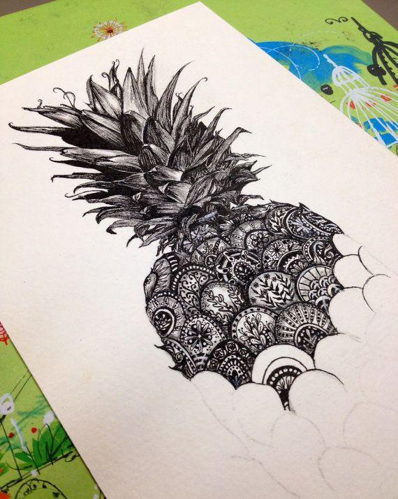 Piña. Impresión de la pluma y tinta con por KimParkerDesigns