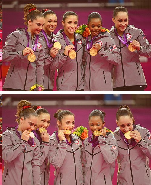 The fierce five. Kyla Ross, Mckayla Maroney, Jordyn Weiber, Aly Raisman and Gabby Douglas.