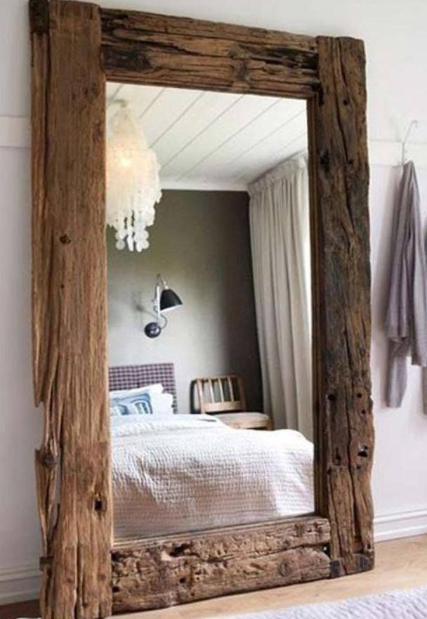 Create your own rustic mirror by framing a plain one with for Rustic mirror
