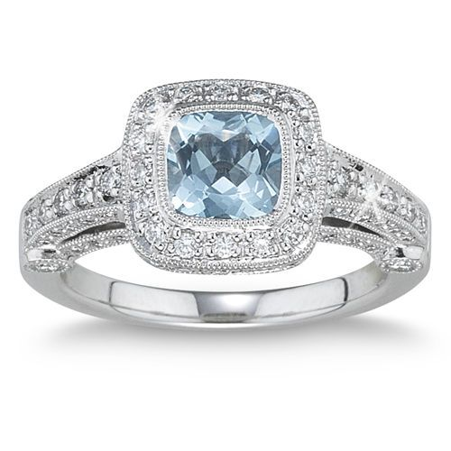 Aquamarine & Diamond Ring Platinum My Style