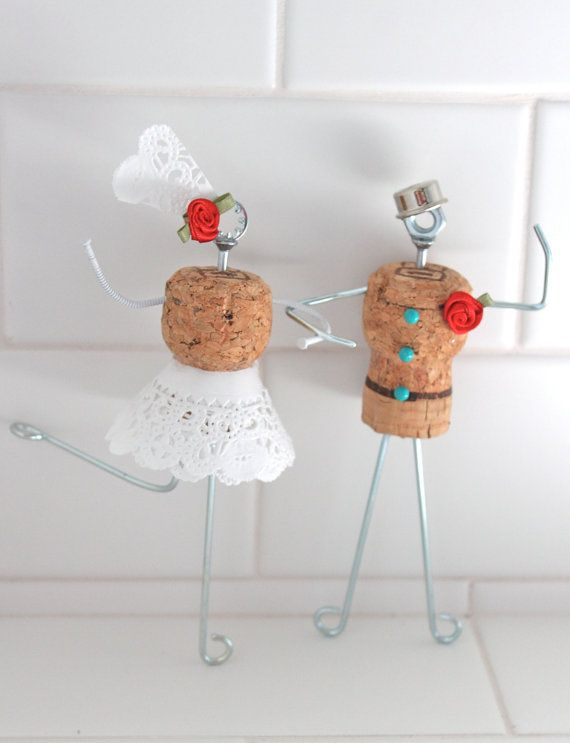 Whimsical Cork Wedding Cake Topper with Dress Bowler by Beflourish, $45.00