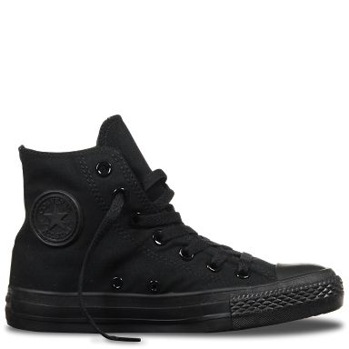 Converse Mono Black Canvas Hi-tops. Also available in infant sizing