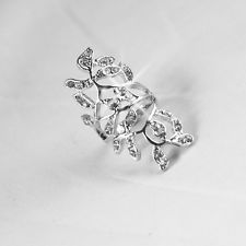 Mujer anillo cristal Diamante Nudillo Knuckle Joyería Ring Punk