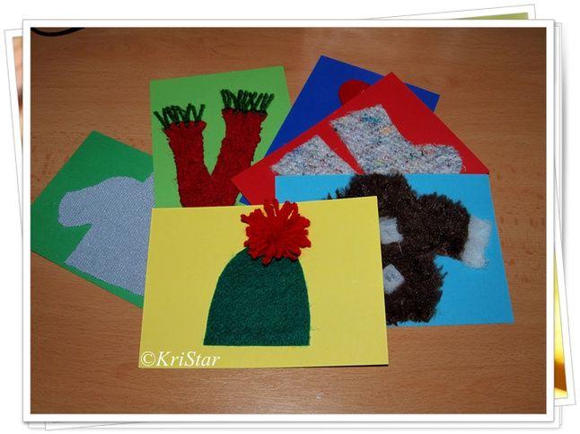 """К занятию на тему """"Зимняя одежда"""" сделала очень простые, но полезные тактильные карточки. Для маленького ребёнка очень важны игры на ощущение. Такие игры развивают у ребёнка не только мелкую моторику, но и интуицию. А тематические карточки ещё и обучают ;)Карточки можно делать не только на тему """"Одежда"""", а так же на любые другие актуальные для развития темы. Карточки делаются очень просто. На плотный картон размером 10х15 я наклеиваем аппликацию зимней одежды. На..."""