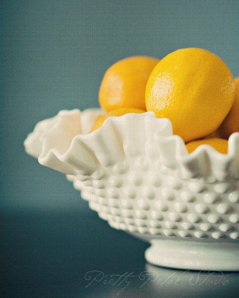Yellow Lemons in Milk Glass Bowl, Still Life Photograph, Cobalt Blue Tone, Kitchen Art, Fruit, Home Decor . 5x7 Print