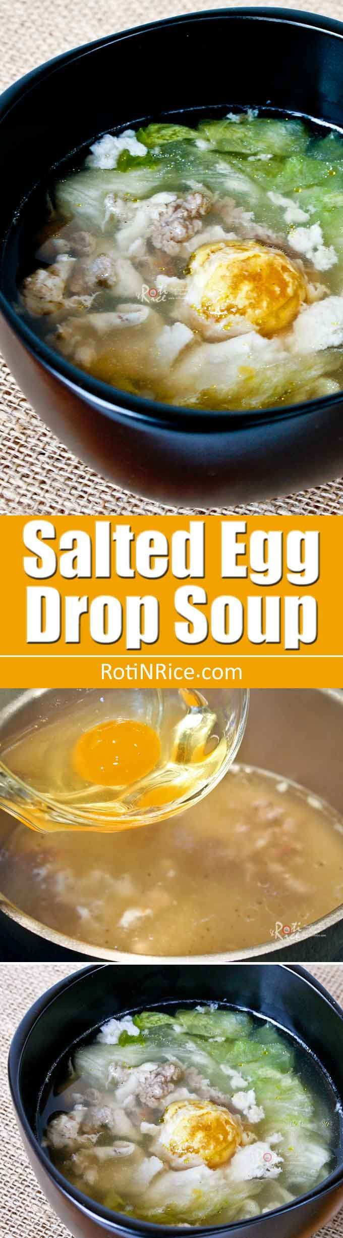 Salted Egg Drop Soup - a twist on a popular classic made even more tasty with the addition of ground pork and salted egg. | RotiNRice.com