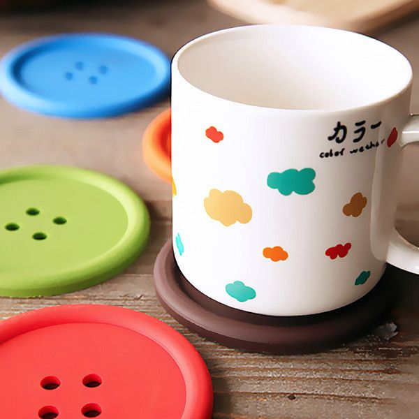 Colorful Button Coasters (Set of 4) | GEEKYGET