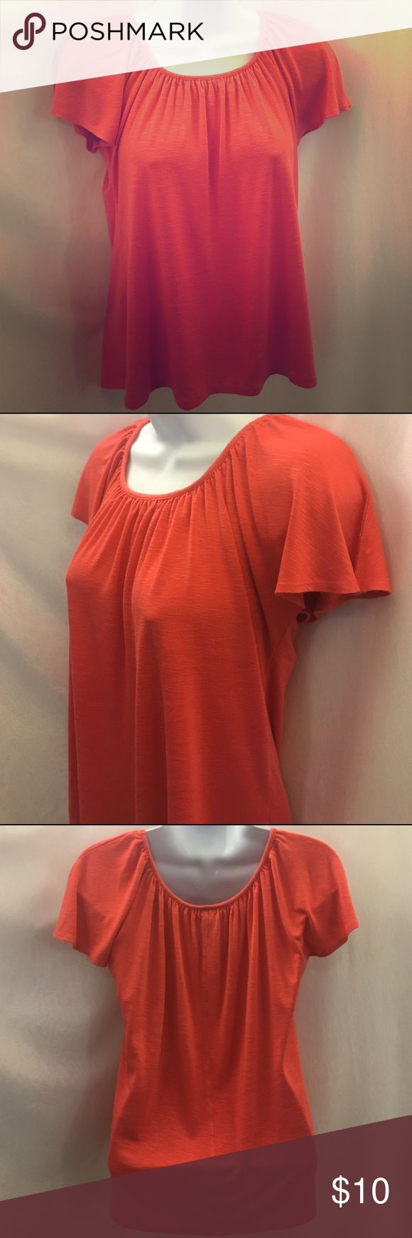 """J Coral Flowy Peasant Blouse Ruched Boat Neck Coral shade (pink-ish orange). """"J"""" brand. Rayon-spandex blend. Women's medium. Soft, loose fit, flowing blouse. Peasant style. Short sleeved. Slightly recruited fabric. Pre-owned. Tops Tees - Short Sleeve"""