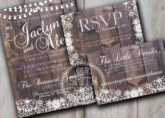 Rustic Lace Wedding Invitation DIY PRINTABLE von OurSmithNest