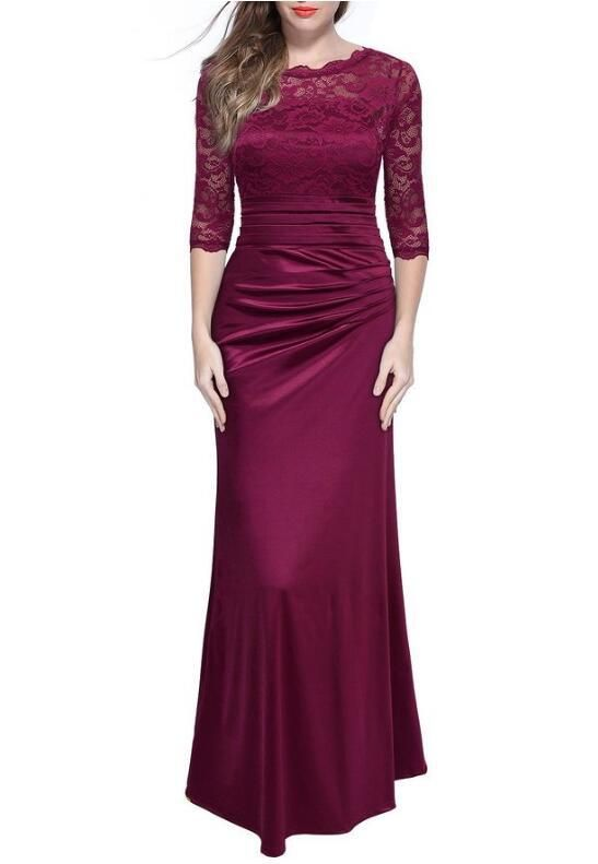 New Elegant Retro Ladies Lace Hollow Out Embroidery Sleeves Evening Party Dress Women Vintage Long Dress Floor Length Dresses