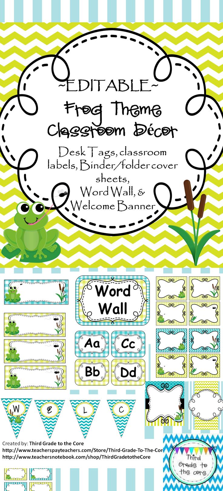"Brighten up your class with these colorful decorations! All labels and binder covers are editable. This classroom set includes 2 different style Desk Tags, classroom labels in different sizes and styles, 3 different Binder/folder cover sheets that can be used for teacher or student binders, Word Wall set, And a ""Welcome"" Bunting Banner."