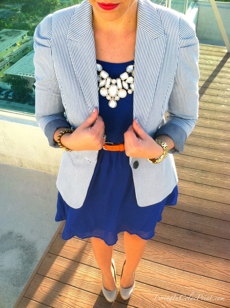 I really like this seasucker blazer and cobalt dress combo along with the hint of orange