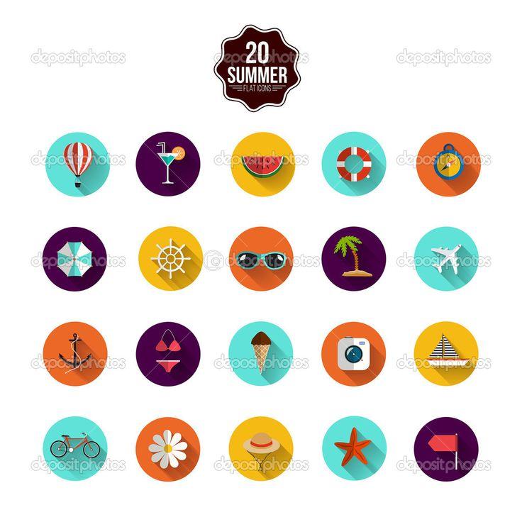 kolekcja nowoczesnych ikon płaski z długi cień efekt travelin - Ilustracja stockowa: 48708165