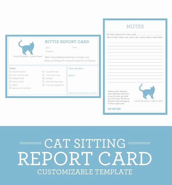 Dog Boarding Report Card Template Unique Cat Sitting Report Card Template By Petbusinesstemplates Pet Sitting Business Dog Daycare Pet Sitting