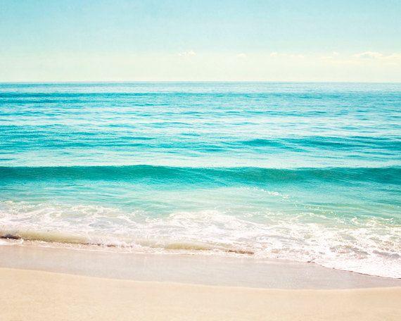 "Ocean Landscape Photography, aqua blue print turquoise teal seascape cream light horizon beige coastal wall art photograph, ""Summer's Dream"""