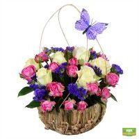 Крестная фея, корзина с цветами, розовый букет