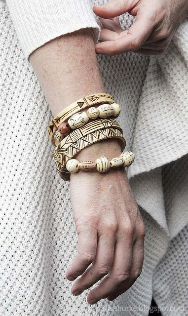 Alisa Burke - wooden beads and bangles, patterned with wood-burning tool