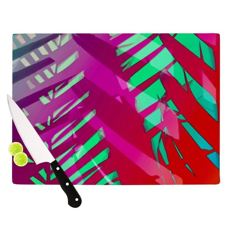 "Kess InHouse Alison Coxon ""Hot Tropical"" Pink Red Cutting Board (Small 11.5 "" x 8.5""), Multi (Glass)"