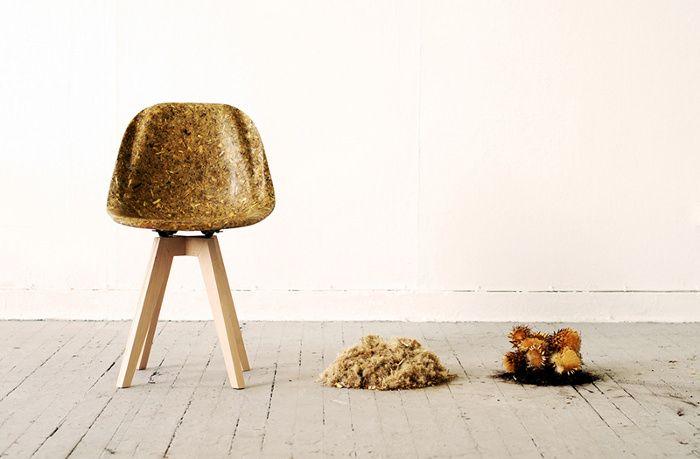Artichair la chaise naturelle par Spyros Kizis Il développe une nouvelle matière, fibre naturelle combinant déchets agricoles, résine époxy biologique et dérivés de chardons.