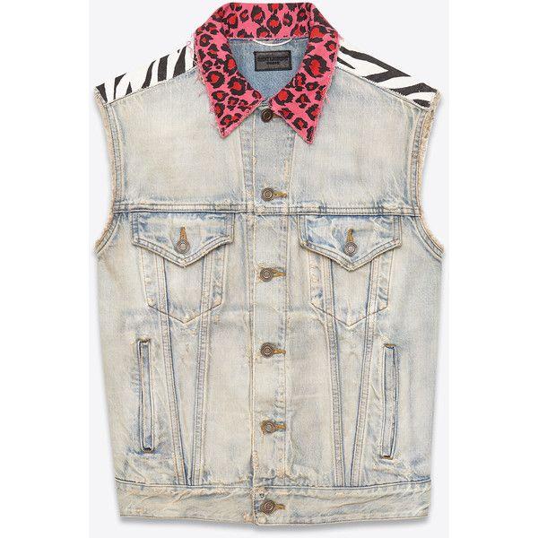 Saint Laurent Sleeveless Jean Jacket (17.770 ARS) ❤ liked on Polyvore featuring men's fashion, men's clothing, men's outerwear, men's jackets, outerwear, mens cotton jacket, mens sleeveless jacket and mens sleeveless denim jacket