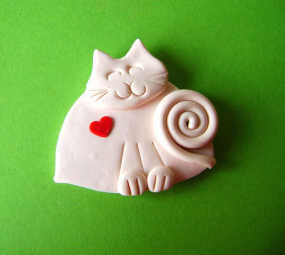 Polymer Clay White Cat with Red Heart Brooch or by Coloraudia   10 00