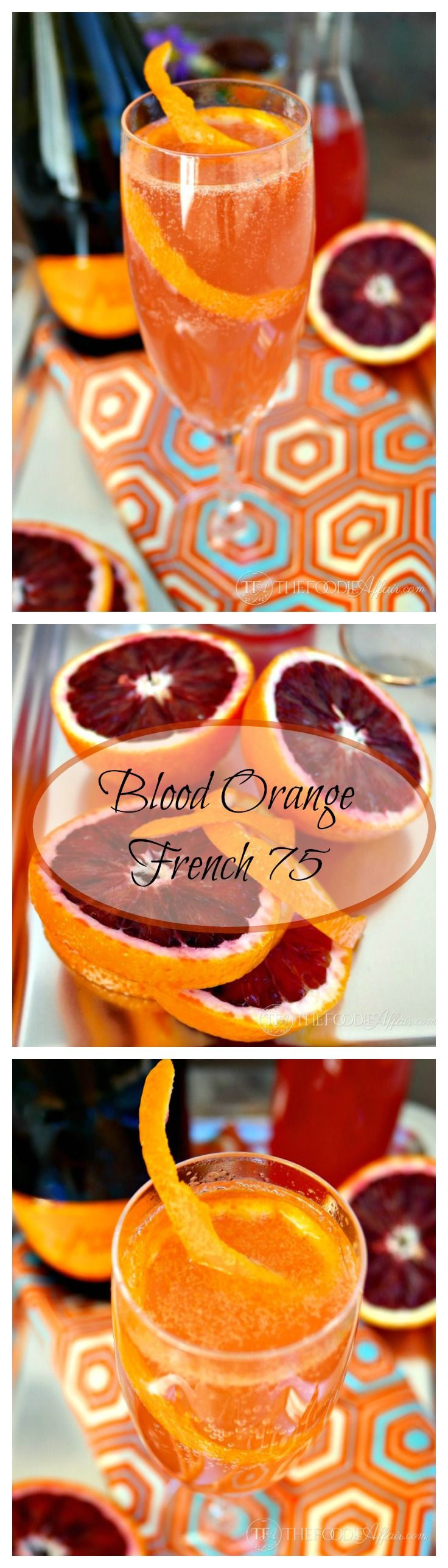 Blood Orange French 75 is a great celebratory cocktail! French 75 classic cocktail made with gin and champagne and lemon juice. Instead of using lemons for the citrus, vibrant blood oranges complete this drink.
