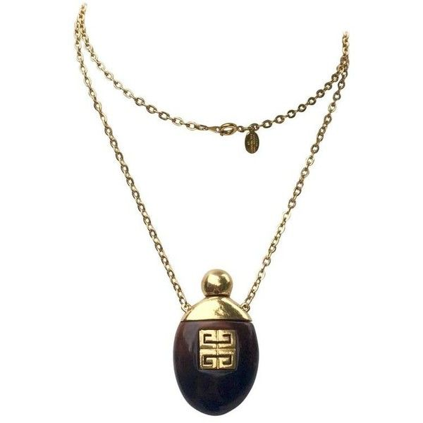 Preowned Vintage 1970s Givenchy Perfume Bottle Necklace Gold-toned... ($500) ❤ liked on Polyvore featuring jewelry, necklaces, beige, pendant necklaces, plastic chain link necklace, tortoiseshell necklace, vintage long necklace, floral necklace and bear pendant