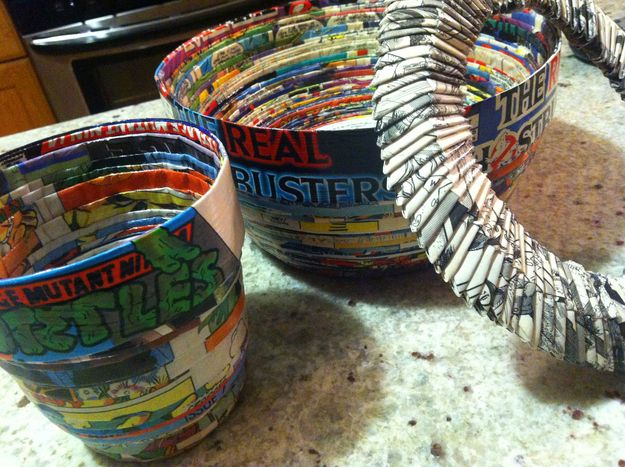 Cool Bowls Made From Old Comic Books  Instructions for 'upcycling' your old comics straight from my super-cool nana, who made these!  Dan Milano