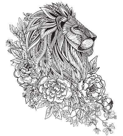 Hand drawn graphic ornate head of lion with ethnic floral doodle pattern, peonies and other flowers. Vector illustration for coloring book, tattoo, print on t-shirt. Isolated on a white background.