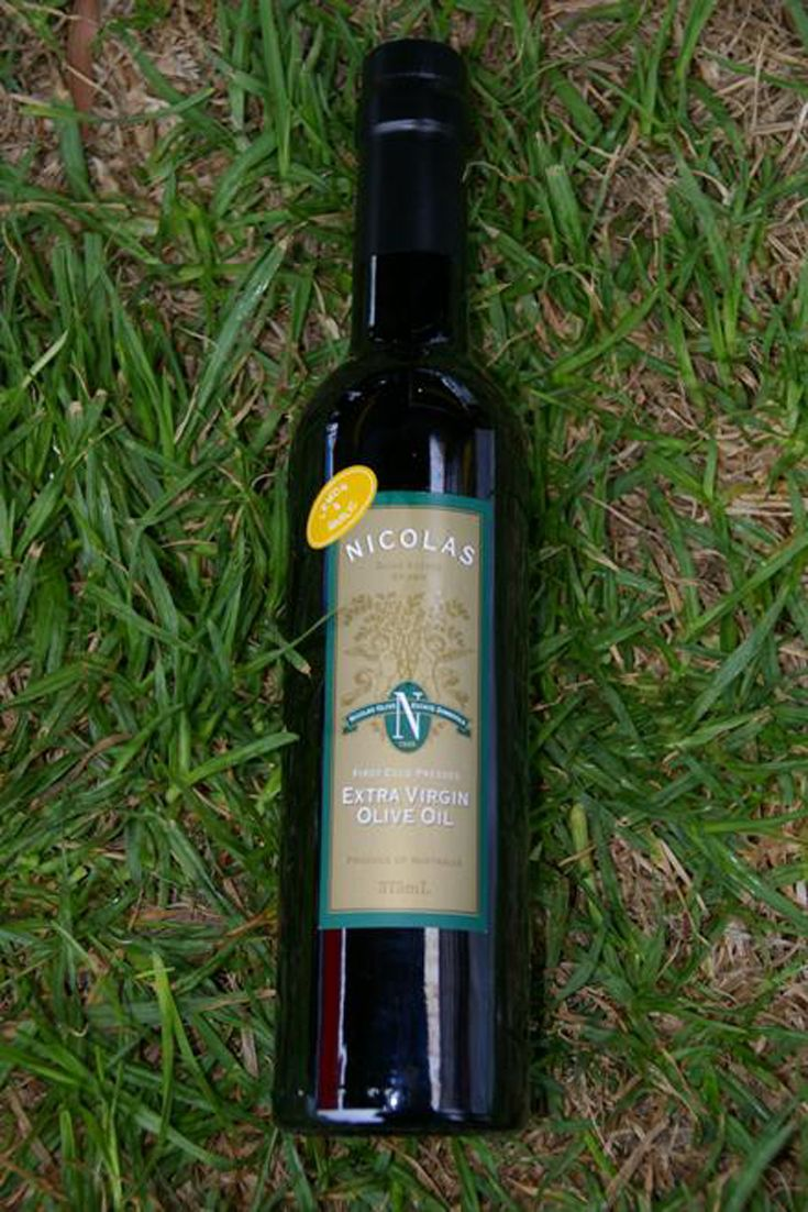 Extra Virgin Olive Oil - Lemon & garlic -  Nicolas Olive Estate. 375ml Extra Virgin Olive Oil First Cold Press - infused with lemon and garlic - presented in the Bordelaise bottle.