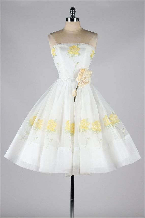 vintage 1950s dress . white chiffon . yellow by millstreetvintage