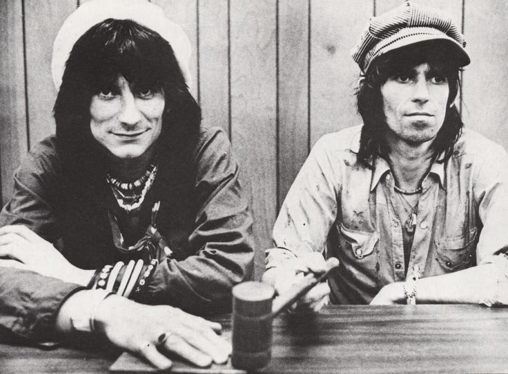 keith richards & ron woods.  denim shirts.