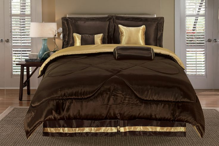 Reversible Satin Solid Coffee Gold Comforter Set Queen