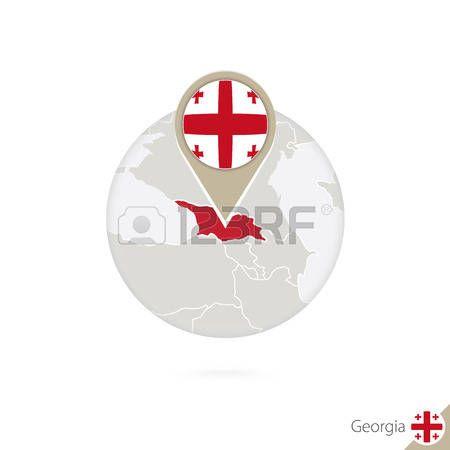 Georgia mapa y la bandera en círculo. Mapa de Georgia, Georgia pin de la bandera. Mapa de Georgia en el estilo del globo. Ilustración del vector.