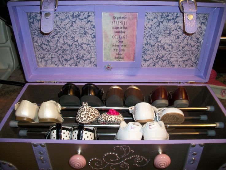 """Baby shoe organizer with the Serenity Prayer tucked inside the lid--""""The Right Shoe Can Change Your Life"""""""