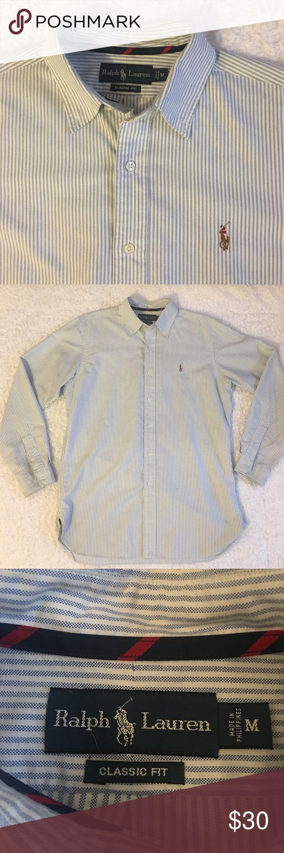 Ralph Lauren Long Sleeve Button Down Shirt(Medium) Ralph Lauren Long Sleeve Button Down. Classic fit shirt. White with light blue stripes. Small pen mark on the left under arm area. Lightly worn. Over all in good condition. Ralph Lauren Shirts Casual Button Down Shirts