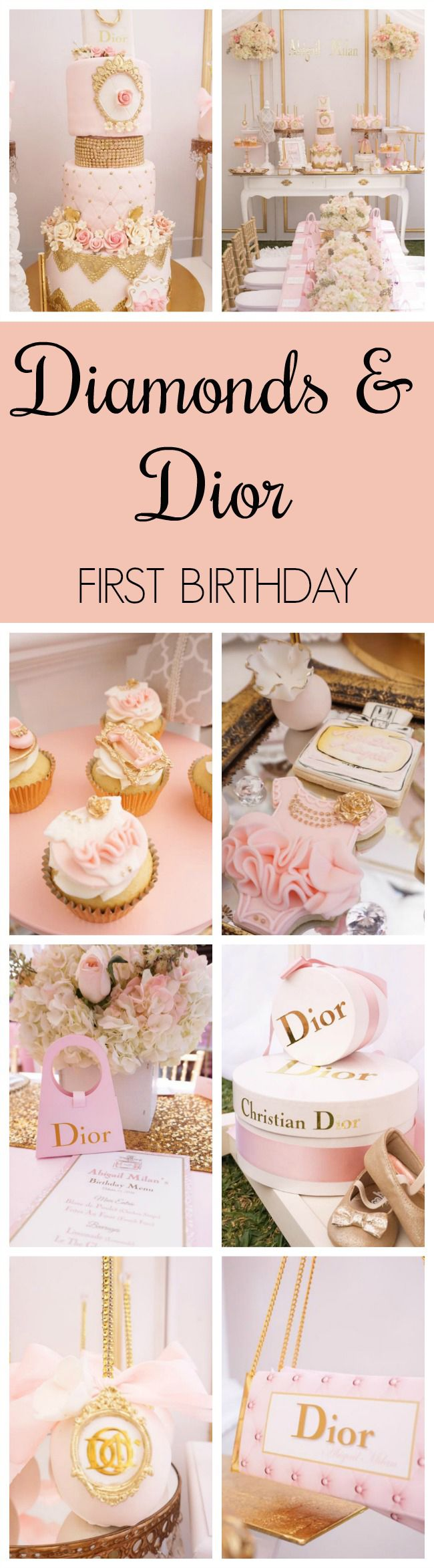 Diamond and Dior Themed Birthday Party featured on Pretty My Party
