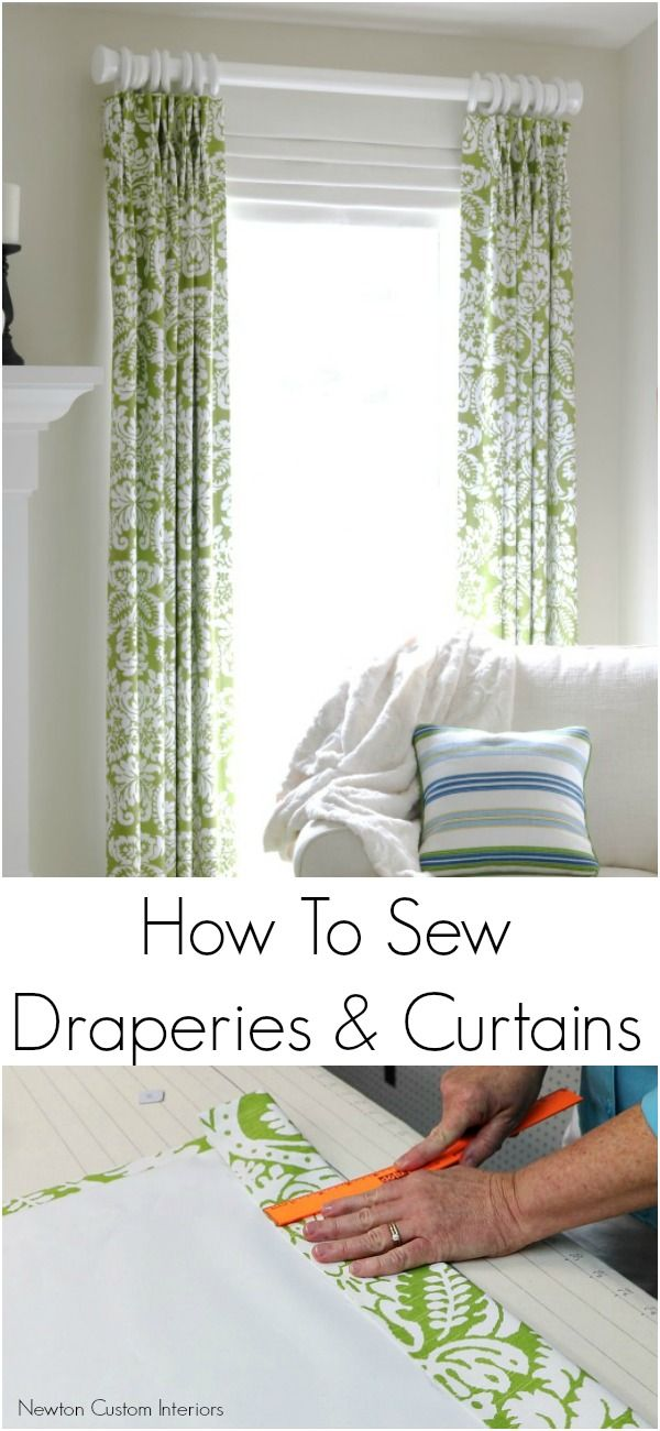 Learn how to sew draperies and curtains to give your home a custom look! Make window treatments that will fit your windows, and in the fabric you love!  #sewingtutorial #diydraperies #draperies #curtains