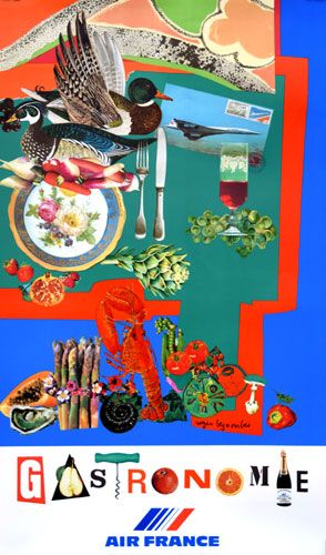 Gastronomie original vintage advertising poster by Roger Bezombes, 1981. January image #3 #imageofthemonth #travel #airfrance