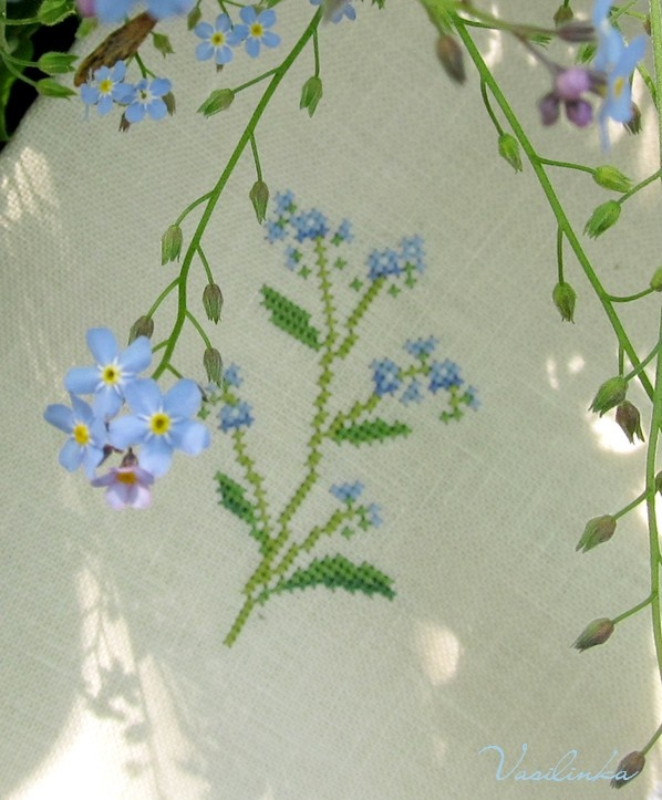 Forget-me-not, вышивка, embroidery