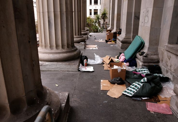 The homeless have set up living on the steps of the old United States Mint building in San Francisco, as seen on May, 28, 2015. This literally breaks my heart