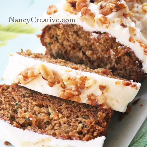I'm a big fan of carrot cake and zucchini bread, so I came up with this recipe that combines the two. It's a tasty way to eat your veggies! :) Topping this moist, flavorful bread with a yummy cream...