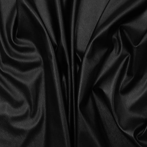 Black Faux Vegan Leather Fabric - Black colour poly spandex blend faux vegan leather.  Fabric has a textured, small pebble matte surface on the front and a soft spandex knit backing in a black colour.  This is a medium weight with a small mechanical stretch.  Great for apparel, accessories, and more!  ::  £16.96