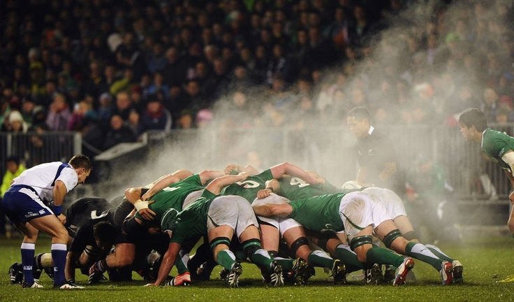 The All Blacks pack take on Ireland's in one steamy scrum.