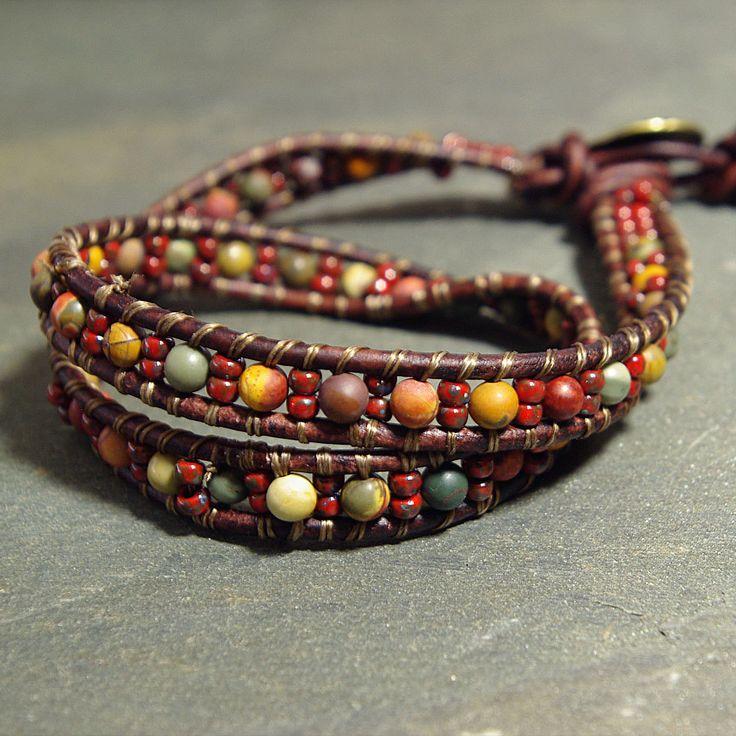 Jasper Gemstone Leather Wrap Bracelet from www.mymusejewelry.com