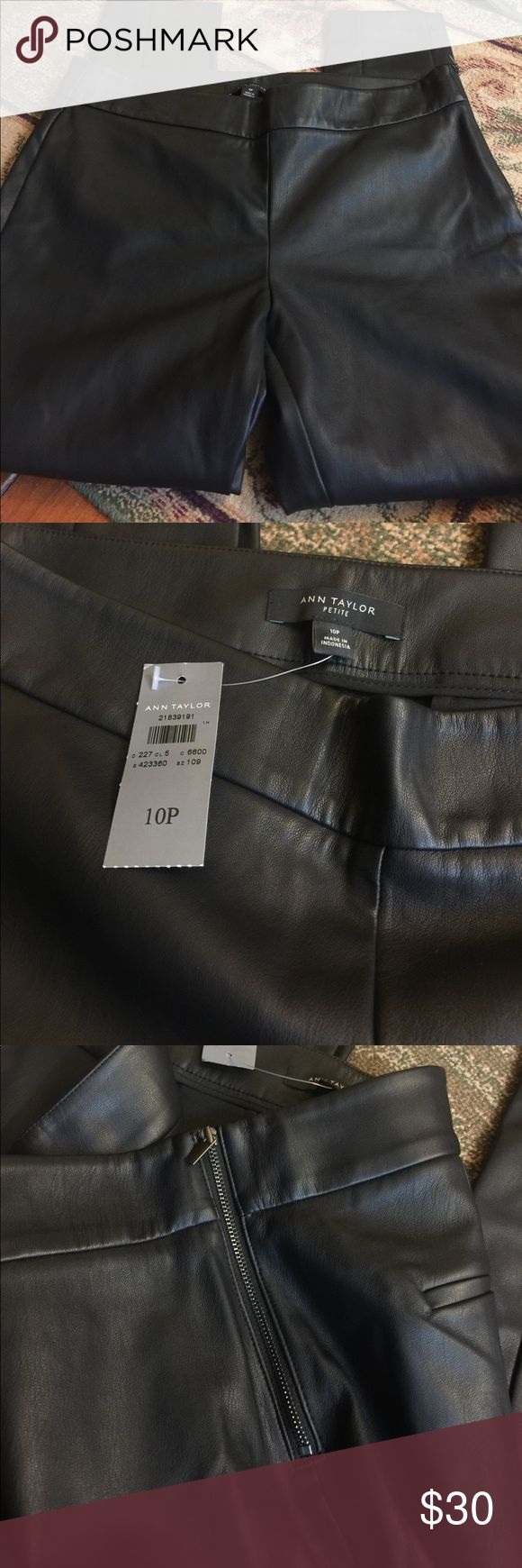NWT 10 petite Ann Taylor leather-like pants No flaws, very cute pants. The pants are black and zip up the side. Pants are skinny fit. Comes from a smoke free home. Ann Taylor Pants Skinny